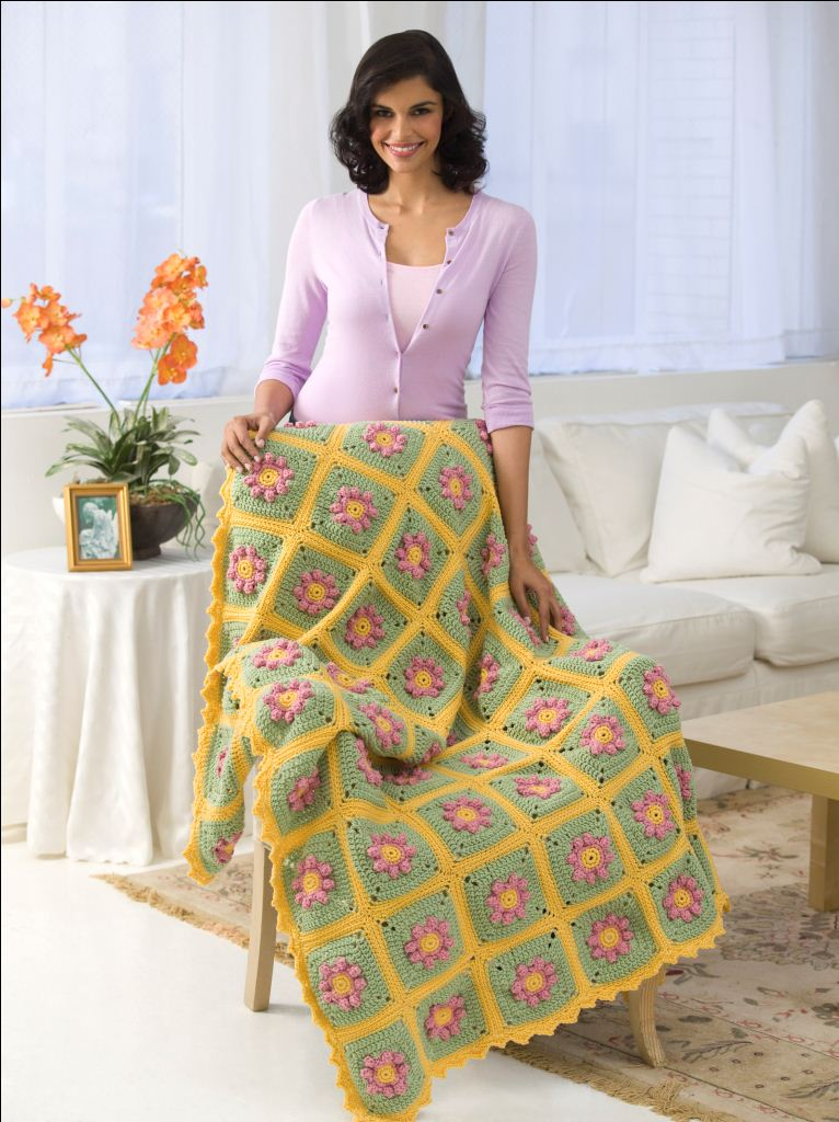 Country Flowers Throw Crochet Pattern From Red Heart Yarn