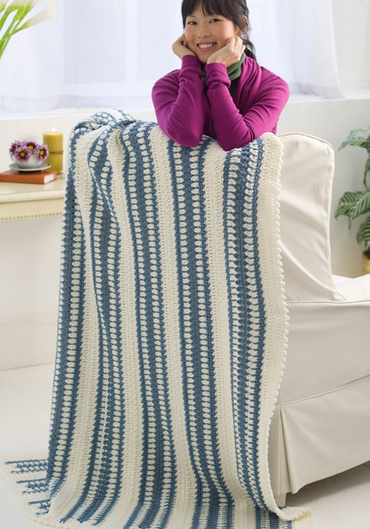 Winter Blue Throw Crochet Pattern From Red Heart Yarn Favecrafts
