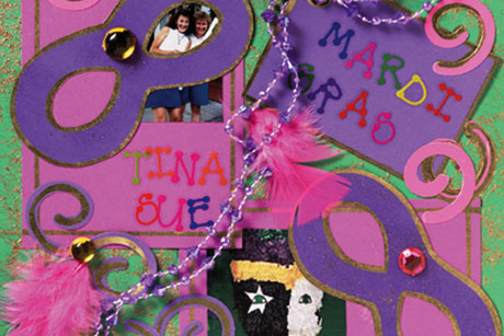 Mardi Gras Scrapbook Layout