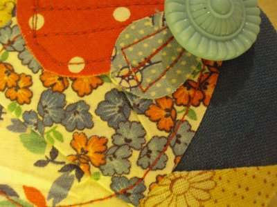 Fabric Scrap and Button Brooch 7