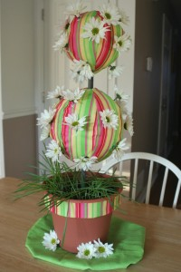 Easter Daisy and Fabric Topiary