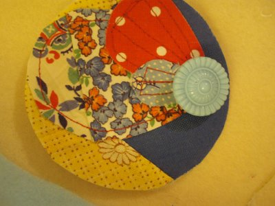 Scrap   Fabric and Button Brooches