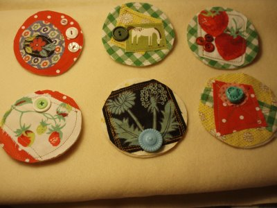 Scrap Fabric Button Brooches