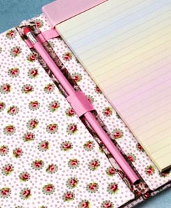 Fabric and Ribbon Notebook Detail