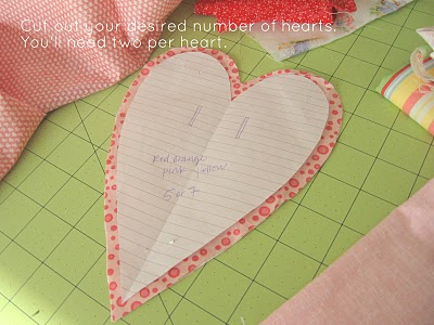 heart template for sewing - ruffle heart bunting