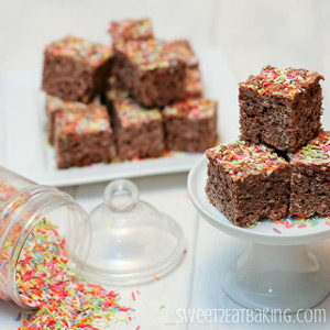 Chocolate Funfetti Rice Krispie Treats