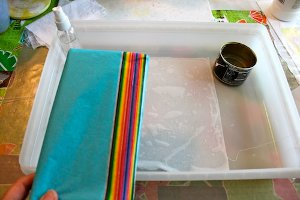 Tissue Paper Tie Dye Project