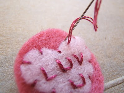 Atttaching Heart to Felt Circle