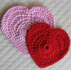 Pink and Red Crochet Hearts