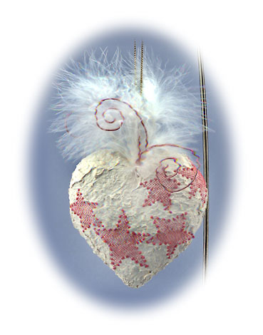 Painted heart love ornament