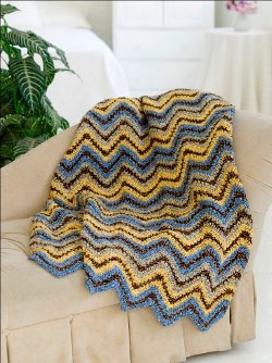 Blue and Yellow Ripple Afghan