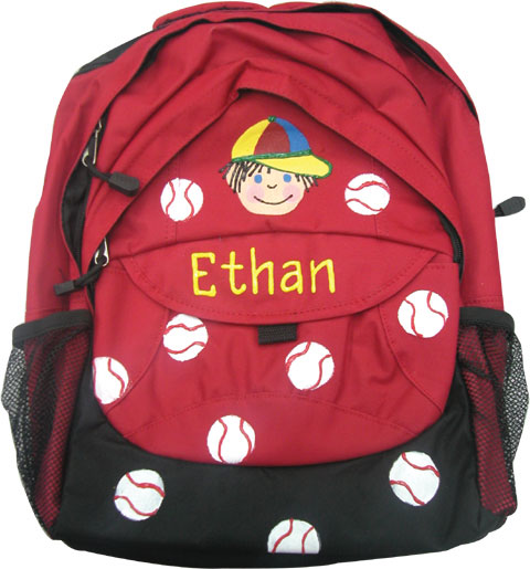 Painted baseball boy's backpack