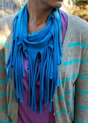 how to make a tee shirt fringe scarf. Black Bedroom Furniture Sets. Home Design Ideas