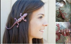 glittered lizard barrette