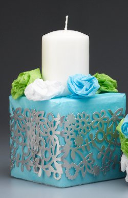 Ribbon Wrapped Wedding Candle