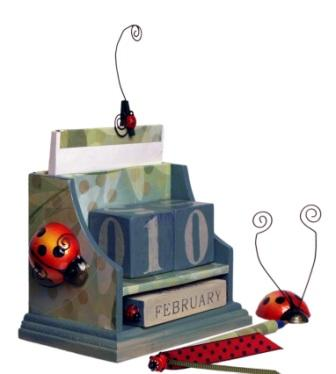 Ladybug Wood Calendar, Notebook and Pen
