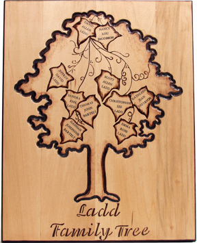 Woodburned Family Tree