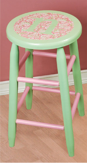 Paint and Paper Monogram Stool