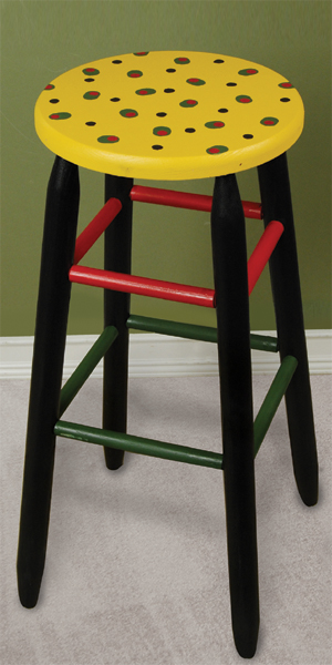 Olive Painted Bar Stool