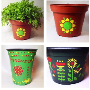Pretty Painted Flower Pots