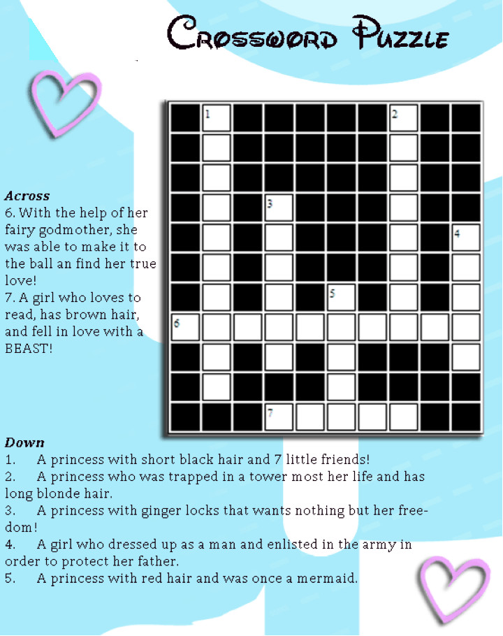 image regarding Free Printable Crossword Puzzles for Kids identified as Disney Princess Crossword Puzzle for Small children