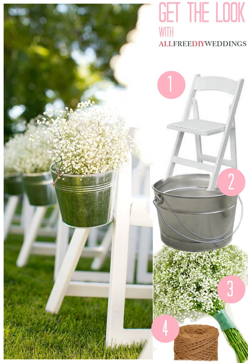 Babys Breath Pail Wedding Aisle Decor AllFreeDIYWeddingscom