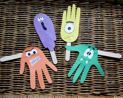 Silly Haunting Handprint Puppets