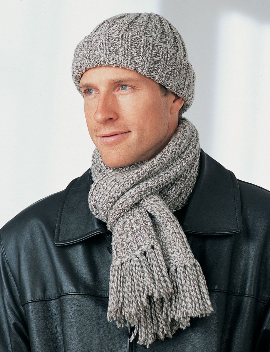 Knitting Scarf Patterns For Men : Mens Winter Hat and Scarf FaveCrafts.com