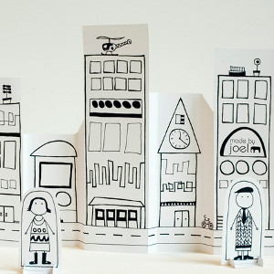 Printable Paper City with Dolls