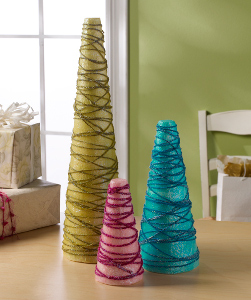 Tissue Paper and Yarn Tabletop Trees