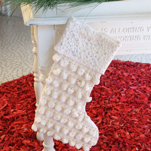 White Pompom Decorative Stockings